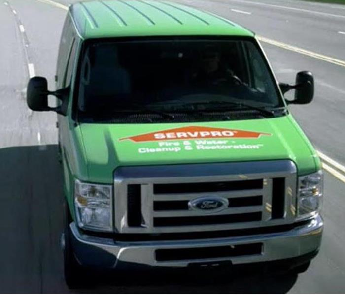 SERVPRO van driving towards you on the road