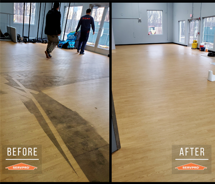 floor cleaning in a commercial building. dirt and residue all over floor. After: floor is completely clean