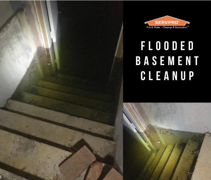 Water in basement reaching halfway up the stairs. servpro flooded basement cleanup removed all water in 3 hours